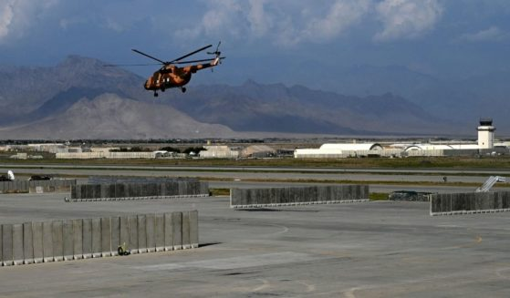 An Afghan helicopter takes off from the Bagram Air Base, some 40 miles north of Kabul, Afghanistan, on July 5, 2021.