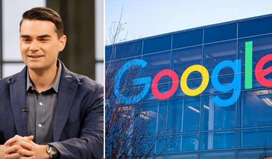"""American political commentator Ben Shapiro is seen during a taping of """"Candace"""" on March 17, 2021, in Nashville, Tennessee. The Google logo appears on the side of a building in the stock image on the right."""