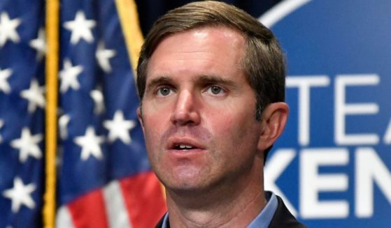 Kentucky Democratic Gov. Andy Beshear speaks in Frankfort on Tuesday.