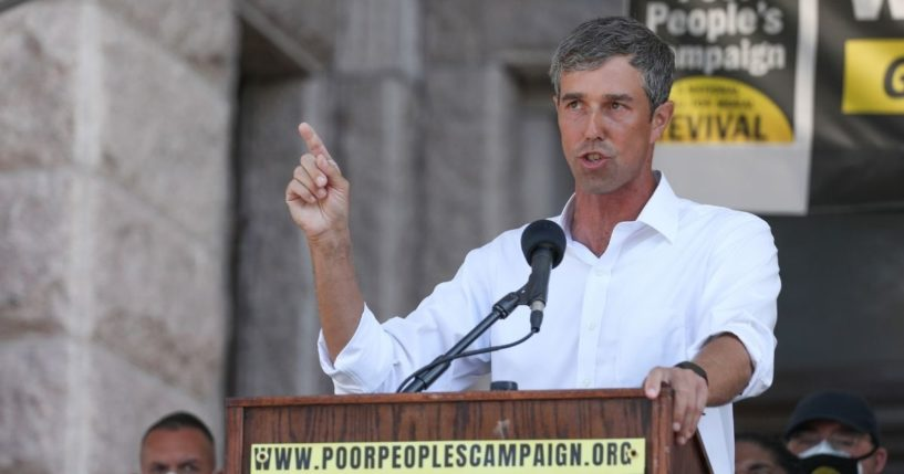 Beto O'Rourke speaks on the steps of the Texas Capitol on July 31, 2021, in Austin, Texas.