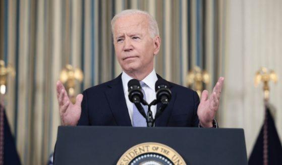 President Joe Biden speaks Friday at the White House.