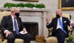 U.S. President Joe Biden, right, holds a bilateral meeting with Britain's Prime Minister Boris Johnson at the Oval Office of the White House in Washington, D.C., on Tuesday.