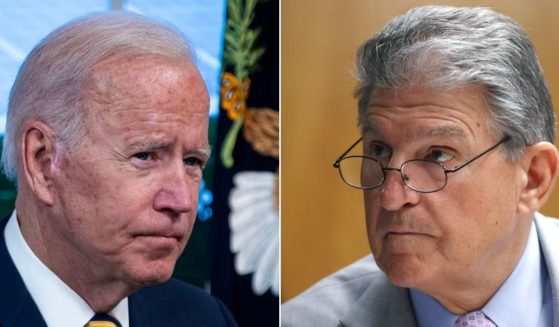 At left, President Joe Biden participates in a conference call in the Eisenhower Executive Office Building in Washington on Friday. At right, Democratic Sen. Joe Manchin of West Virginia attends a Senate Appropriations subcommittee hearing in Washington on June 9.