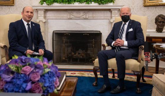 President Joe Biden, right, meets with Israeli Prime Minister Naftali Bennett in the Oval Office at the White House on Aug. 27, 2021.