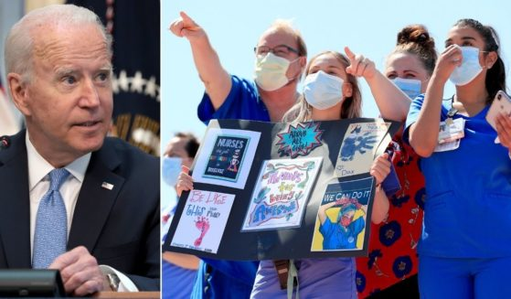 At left, President Joe Biden speaks in the Executive Office Building in Washington on Wednesday. At right, Texas hospital staff look on in anticipation of the Navy Blue Angels flyover of Dallas in support of health care workers on May 6, 2020.