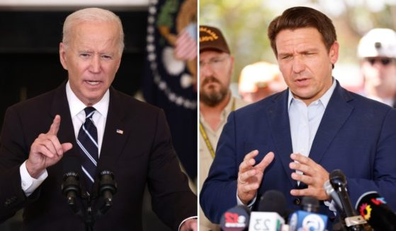 The administration of President Joe Biden, left, is now targeting Florida over its ban on mask mandates in schools.
