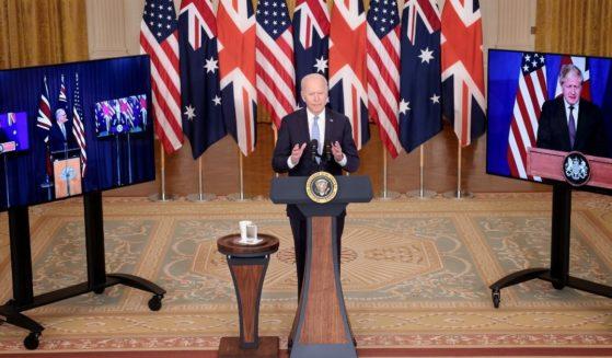 President Joe Biden announced a new national security initiative Wednesday, Sept. 15, 2021, in partnership with Australian Prime Minister Scott Morrison, left, and United Kingdom Prime Minister Boris Johnson.