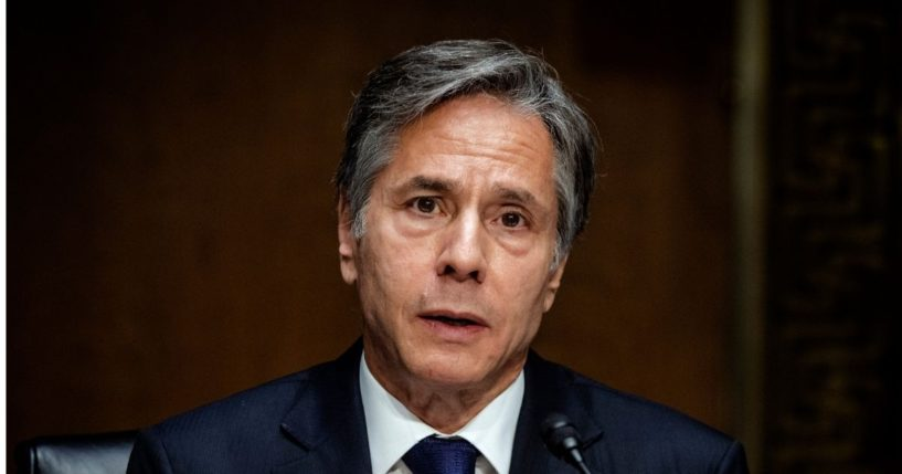 Secretary of State Antony Blinken testifies during the Senate Foreign Relations Committee on Tuesday.
