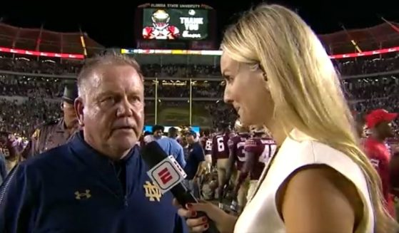 Notre Dame football coach Brian Kelly jokes about his team's execution after they defeated Florida State on Sunday.