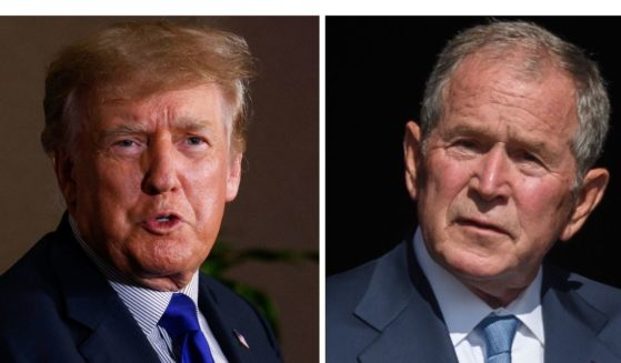 Former President Donald Trump, left, had harsh words for George W. Bush over his endorsement of Wyoming Rep. Liz Cheney.