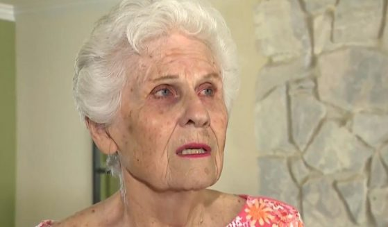 Estelle Bender, 88, who lives in West Hills, California, talks about her voting experience with a KTLA-TV reporter.