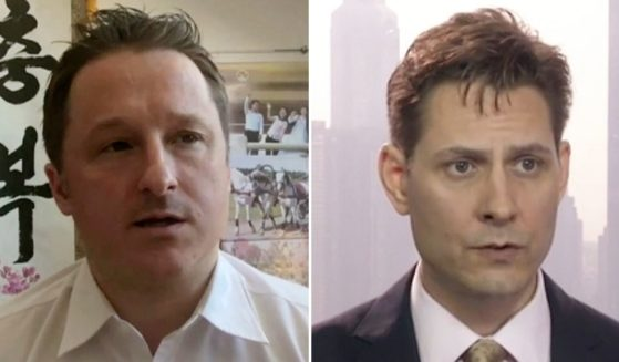 Canadians Michael Spavor, left, and Michael Kovrig who were detained in China on spying charges were released from prison and taken of the country on Friday.