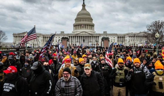 Protesters gather in front of the U.S. Capitol Building on Jan. 6, 2021, in Washington, D.C.