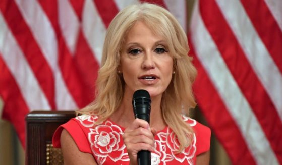 Kellyanne Conway speaks during an event in the State Room of the White House in Washington, D.C., on Aug. 12, 2020.