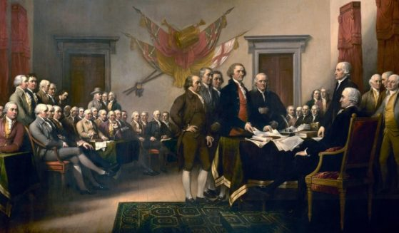 The Founding Fathers are pictured signing the Declaration of Independence in Philadelphia on July 4th, 1776, in this 1819 painting by John Trumbull.