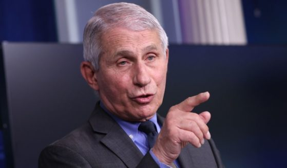 Dr. Anthony Fauci, director of the National Institute of Allergy and Infectious Diseases, talks to reporters in the Brady Press Briefing Room of the White House in Washington on April 13.