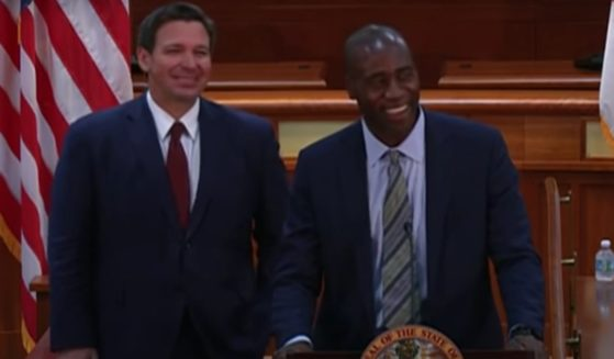 Florida Gov. Ron DeSantis, left, introduced Dr. Joseph Ladapo as his pick for the state's new surgeon general on Tuesday, Sept. 21, 2021.