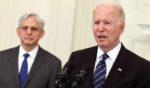 President Joe Biden, joined Attorney General Merrick Garland, left, speaks at the White House in Washington on June 23.