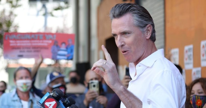 California Gov. Gavin Newsom speaks during a campaign rally on Tuesday in San Francisco.
