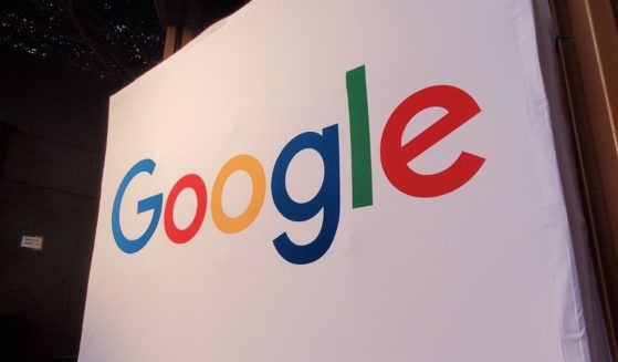 A large conference display with the Google logo is pictured in Los Angeles on Oct. 28, 2019.