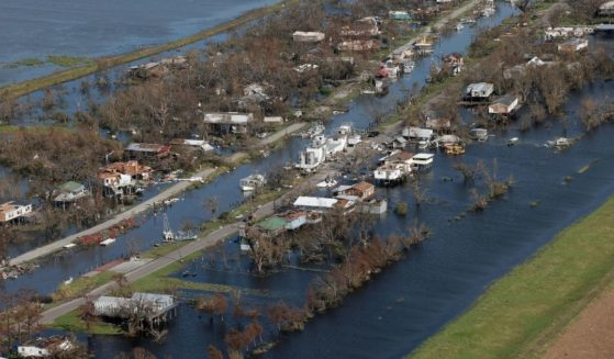 Destruction and flooding are seen Tuesday in the area of Point-Aux-Chenes, Louisiana, in the wake of Hurricane Ida.