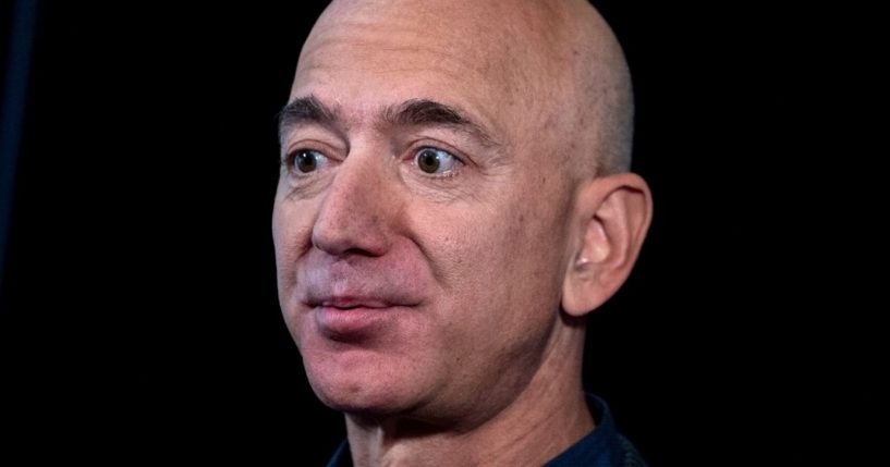 Amazon founder Jeff Bezos speaks to the media during an event in Washington on Sept. 19, 2019.