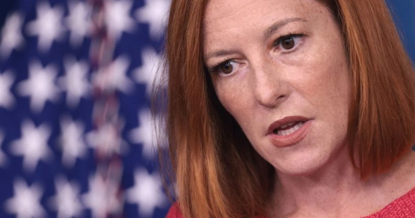 White House press secretary Jen Psaki answers questions in the White House press briefing room on Thursday.