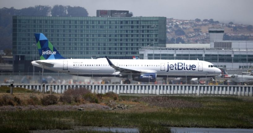 A JetBlue Airways plane takes off from San Francisco International Airport on July 28, 2020, in San Francisco, California.