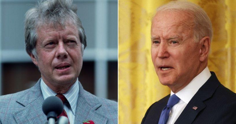 Then-President Jimmy Carter, left, speaks in New York City in 1976. President Joe Biden, right, delivers remarks at the White House on June 25, 2021.