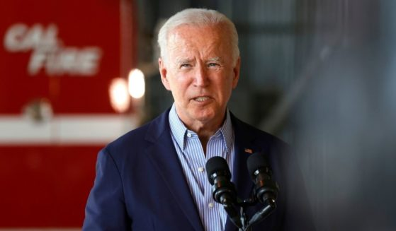 President Joe Biden delivers remarks to reporters after a helicopter tour with California Gov. Gavin Newsom on Monday in Mather, California.
