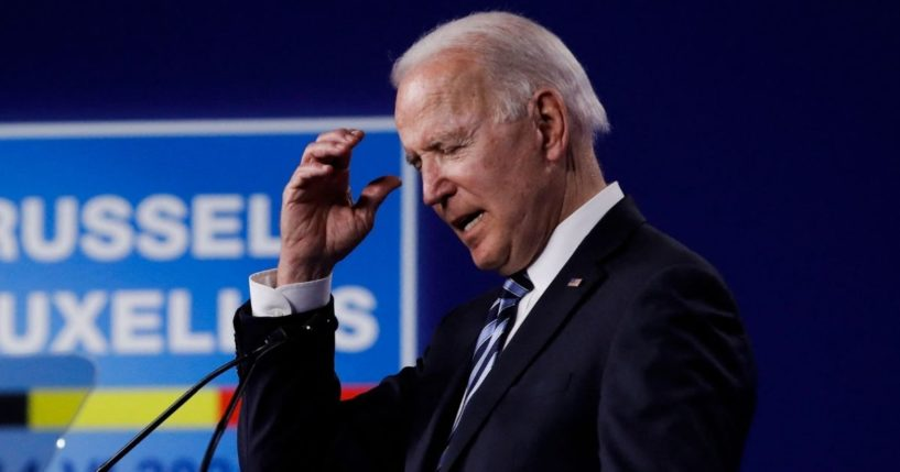 President Joe Biden speaks during a news conference after the NATO summit in Brussels on June 14, 2021.
