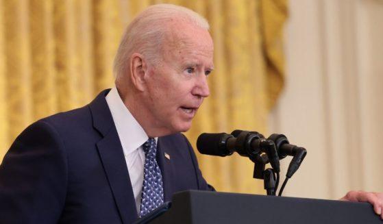 President Joe Biden speaks in the East Room at the White House in Washington on Wednesday.