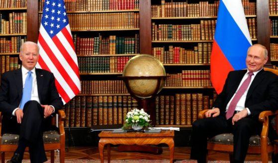 U.S. President Joe Biden, left, and Russian President Vladimir Putin meet on June 16, 2021, in Geneva, Switzerland.