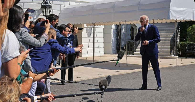 President Joe Biden talks briefly to reporters before boarding Marine One on the South Lawn of the White House on Sept. 3, 2021, in Washington, D.C.
