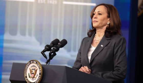 Vice President Kamala Harris gestures as she delivers remarks in the South Court Auditorium in the Eisenhower Executive Office Building on July 27, 2021, in Washington, D.C.
