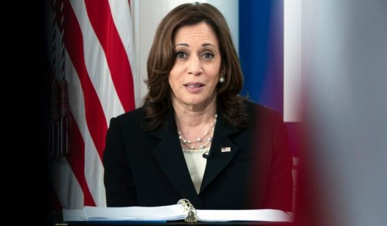 Vice President Kamala Harris speaks during a United Nations General Assembly virtual COVID-19 Summit on Sept. 22, 2021, from the South Court Auditorium on the White House complex in Washington, D.C.