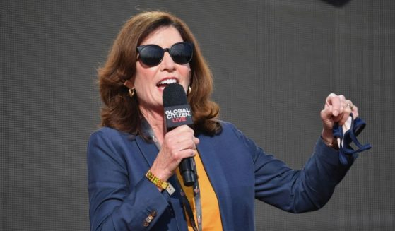 New York Gov. Kathy Hochul speaks during the 2021 Global Citizen Live festival in Central Park in New York City on Saturday.