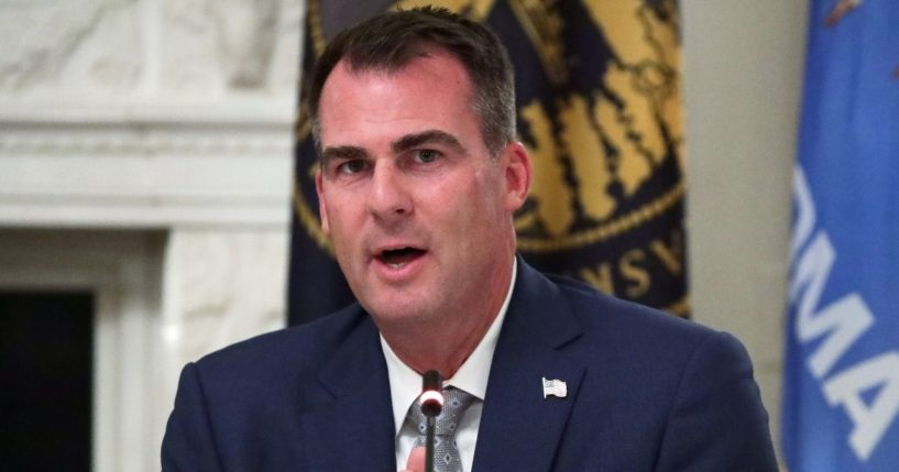 Republican Oklahoma Gov. Kevin Stitt speaks during a roundtable at the State Dining Room of the White House on June 18, 2020 in Washington, D.C.