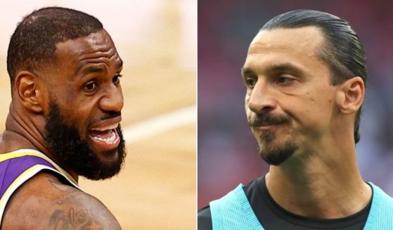 At left, LeBron James of the Los Angeles Lakers is seen in action against the Boston Celtics at TD Garden in Boston on Jan. 30, 2021 in Boston, Massachusetts. At right, Zlatan Ibrahimovic of AC Milan reacts before a Serie A match against SS Lazio at Stadio Giuseppe Meazza in Milan, Italy, on Sunday.