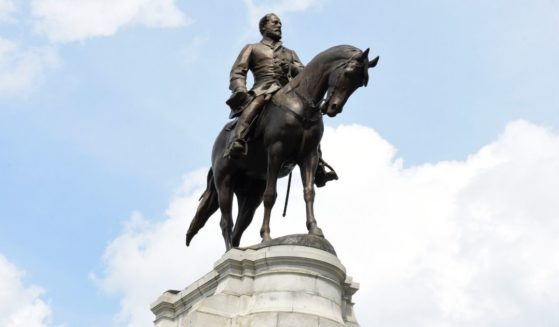 The statue of Confederate Gen. Robert E. Lee on his horse, Traveller, is seen on Monument Avenue in Richmond, Virginia, on June 6, 2020.