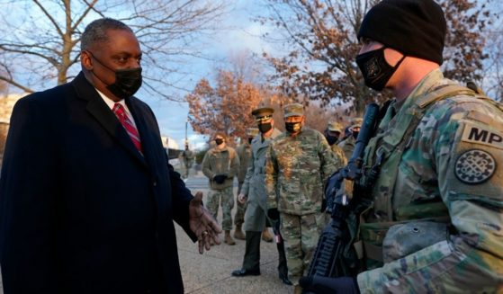Secretary of Defense Lloyd Austin visits National Guard troops deployed at the U.S. Capitol and its perimeter in Washington on Jan. 29.