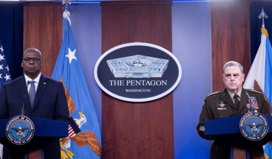 Secretary of Defense Lloyd Austin, left, and Gen. Mark Milley, chairman of the Joint Chiefs of Staff, hold a media briefing at the Pentagon in Washington, D.C., on Wednesday.