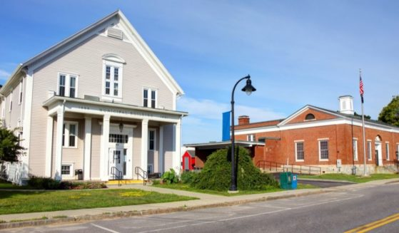 This stock image portrays the town hall building in South Portland, Maine. One resident of York, Maine, has received attention, both good and bad, for creating an anti-woke yard sign.