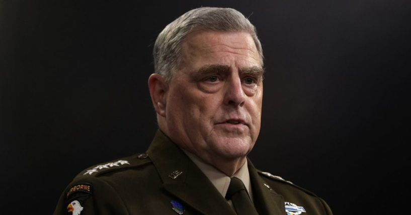 Chairman of Joint Chiefs of Staff Gen. Mark Milley participates in a news briefing at the Pentagon on July 21, 2021, in Arlington, Virginia.