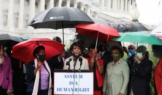 California Rep. Maxine Waters speaks at a news conference on the treatment of Haitian immigrants at the U.S. border in Texas on Wednesday.