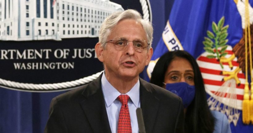 U.S. Attorney General Merrick Garland speaks at a news conference to announce a civil enforcement action at the Department of Justice on Sept. 9, 2021 in Washington, D.C.