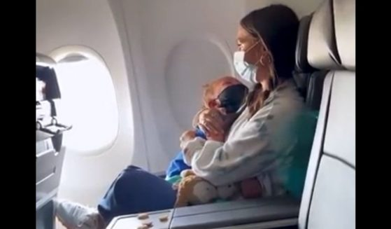Amanda Pendarvis and her 2-year-old son, Waylon, are seen on their American Airlines flight.