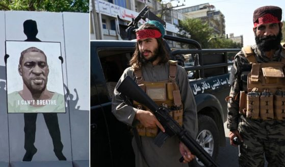 At left, George Floyd is depicted in a mural in Kabul. At right, Taliban fighters stand guard along a road in Kabul on Thursday.