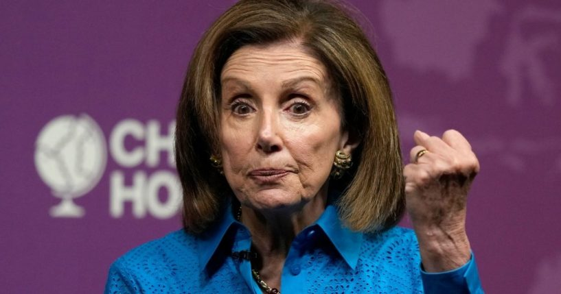 House Speaker Nancy Pelosi gestures during her remarks at Chatham House, the Royal Institute of International Affairs, in London on Friday.