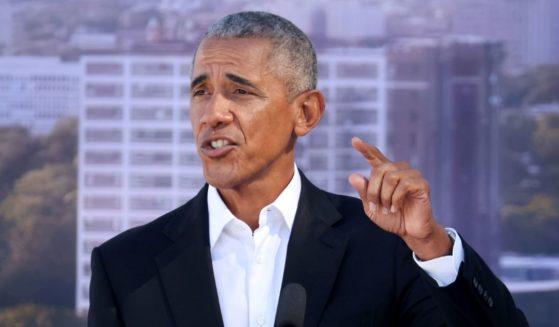 Former President Barack Obama speaks in Jackson Park on Tuesday in Chicago, Illinois.